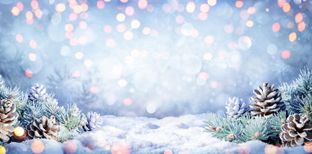 Winter Background With Fir Branches On Snow And Lights Archivio Fotografico - 116640061