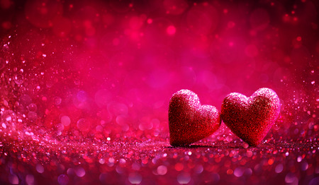 Two Red Hearts In Shiny Background - Valentine's Day Archivio Fotografico - 116640062