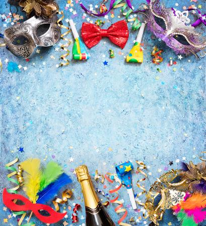 Colorful Carnival Background With Streamer Party Confetti And Masks Archivio Fotografico - 116640070