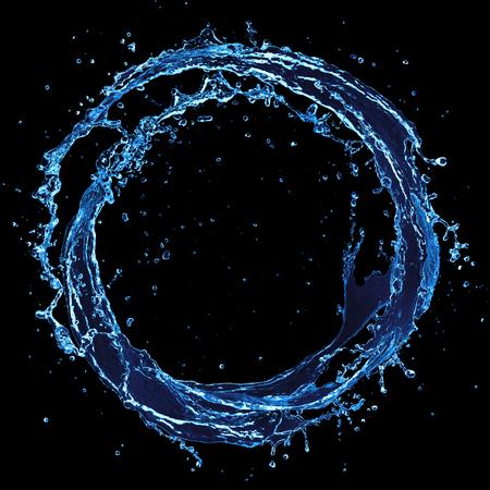 Circle Water - Round Splash On Black Background 写真素材