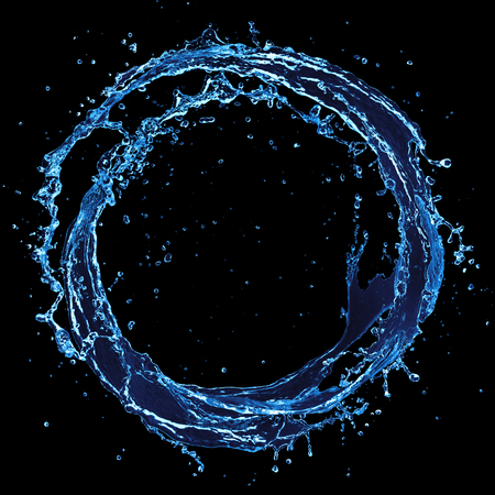 Circle Water - Round Splash On Black Background 免版税图像