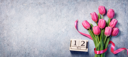 Mothers Day - Calendar With Tulips Bouquet