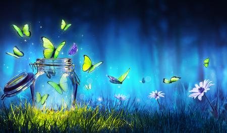 Concept de liberté - Papillons magiques volant hors du pot sur la pelouse Banque d'images