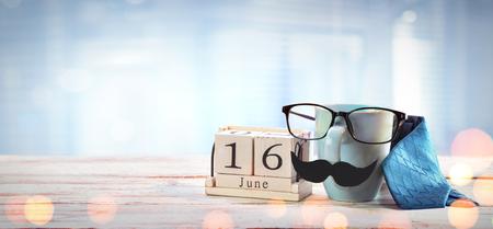 Fathers Day Concept - Mug Glasses And tie On Table Archivio Fotografico - 123144543