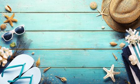 Beach Background - Summer Accessories On Blue Plank Archivio Fotografico - 125945058