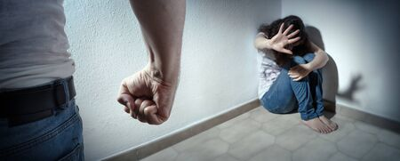 Domestic Violence Concept - Husband Beating His Wife