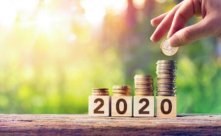Concetto di previsione di crescita per il 2020: pila di monete su blocchi di legno