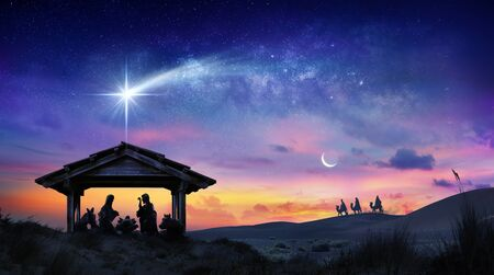 Nativity Of Jesus Scene With The Holy Family With Comet At Sunrise Stock Photo