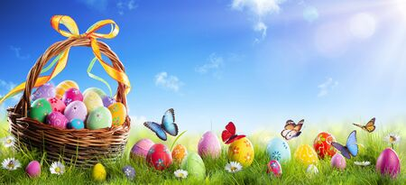 Easter Painted Eggs In Basket On Grass With Sunny Spring Background