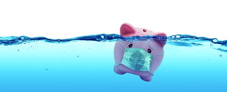 Abstract of Piggy bank Wearing A Protective Face Mask Drowning In Underwater Stock Photo