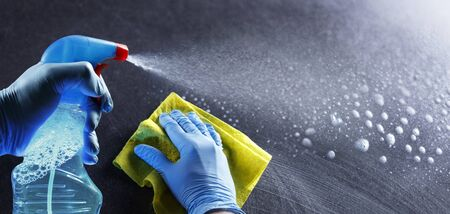 Cleaning And Disinfection With Disinfectant Spray Imagens