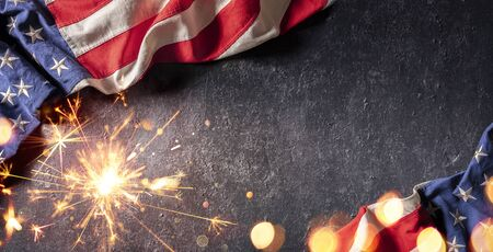 Use Celebration With American Flag And Sparkler