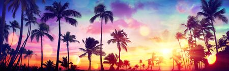 Silhouette Tropical Palm Trees At Sunset - Summer Vacation With Vintage Tone And Bokeh Lights Stok Fotoğraf