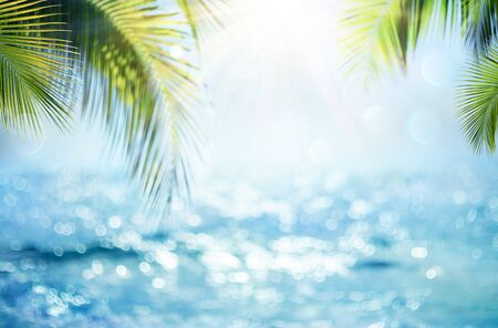 Blurred Blue Sky And Sea With Bokeh Light And Leaves Palm Tree - Summer Vacation Concept Imagens