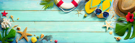 Beach Accessories On Mint Green Plank - Summer Background
