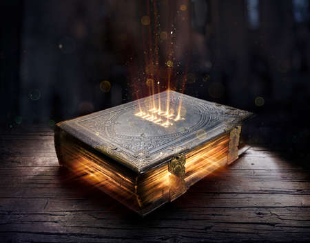 Shining Holy Bible - Ancient Book On Old Table