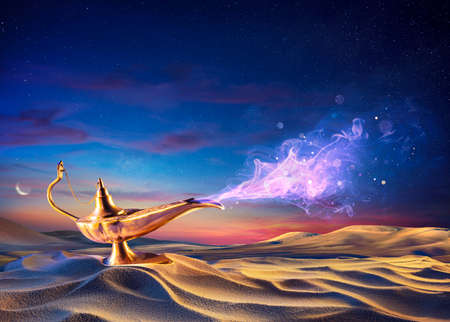 Wish Lamp On The Sand In Desert With Genie