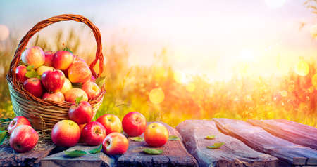 Red Apples In Basket On Aged Table With Defocused Sunset In Background - Fall And Harvest Concept