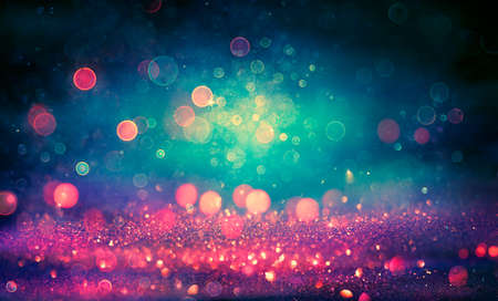 Abstract Glitter Lights Background - Purple And Blue Defocused - Vintage Toned