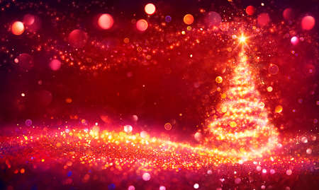 Abstract Golden Christmas Tree In Shiny Defocused Background - Contain Illustration