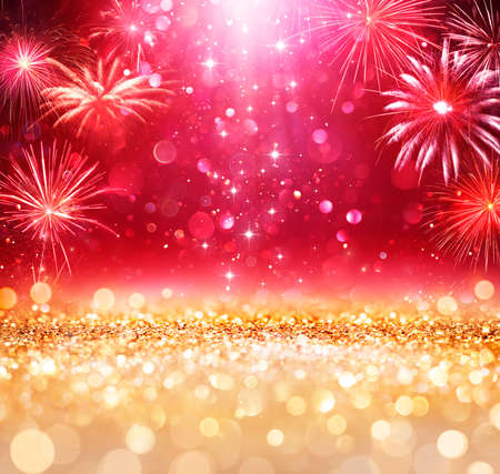 Abstract Christmas Celebration - Shiny Golden Glitter With Defocused Lights And Fireworks On red Background - contain 3d Illustration Stok Fotoğraf