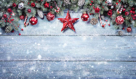 Fir Branches With Red Ornament On Snowy Plank - Christmas Background