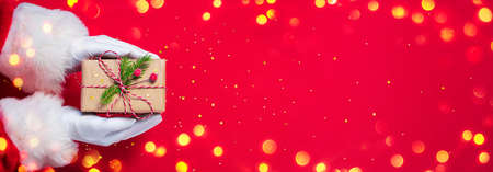 Santa Claus Give Handmade Present In Red Background - Christmas Stok Fotoğraf