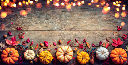 Thanksgiving Board - Wooden Table With Pumpkins And Lights Stok Fotoğraf