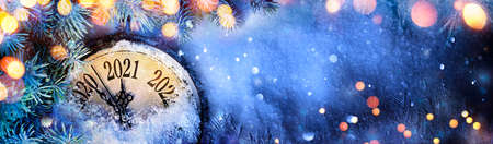 Happy New Year 2021 - Countdown To Midnight - Clock And Fir Branches On Snow Stok Fotoğraf