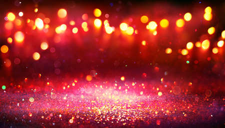 Abstract Christmas Background - Red Glitter With Defocused Lights In The Darkness Stok Fotoğraf