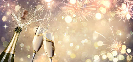 Celebration With Champagne And Flutes - Defocused Abstract Background Stok Fotoğraf
