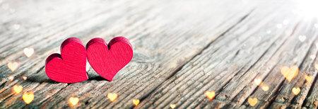 Hearts On Wooden Background - Symbol Of Love Stok Fotoğraf