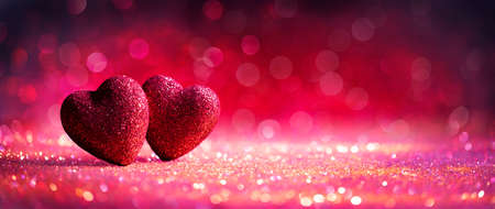 Abstract Defocused Valentines Card With Red Hearts On Shiny Glitter