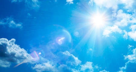 Abstract Weather Concept - Sun In Serene Sky With Flare Effect