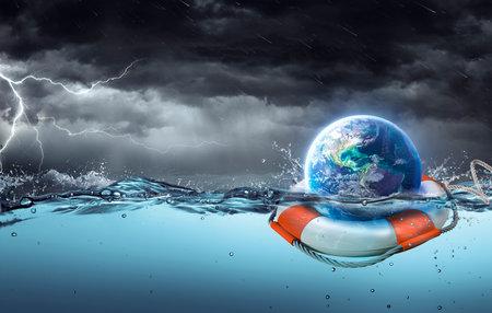 Earth On Lifebuoy In Storm Ocean - 3d rendering