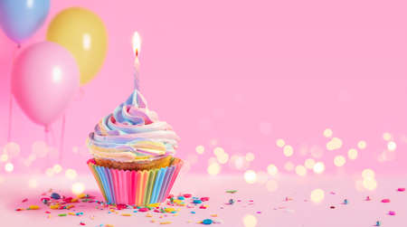 Birthday - Cupcake With Candle And Pink Decoration