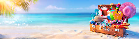Beach Holiday - Travel Suitcase On Tropical Sand With Sunny Sea