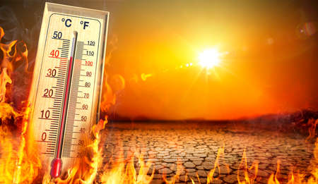 Heatwave With Warm Thermometer And Fire - Global Warming And Extreme Climate - Environment Disaster - contain 3d Rendering
