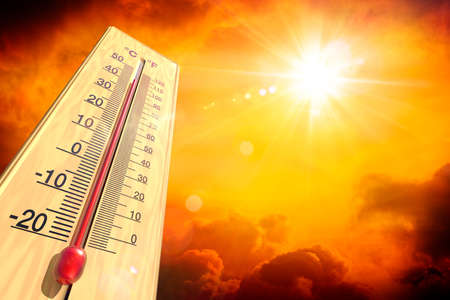 Heat Temperature - Thermometer And Warm Sun - Extreme Climate - contain 3d Rendering 写真素材