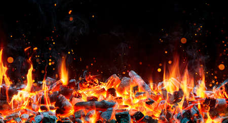 Charcoal For Barbecue Background With Flames 写真素材