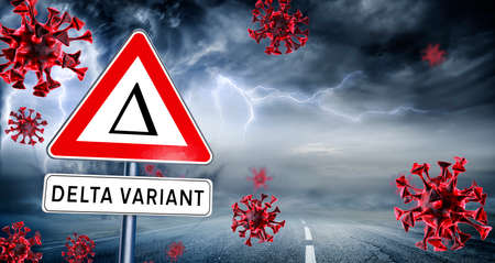Covid Delta Variant - Covid-19 Mutation - Danger Road Sign In The Storm - contain 3d Rendering 写真素材