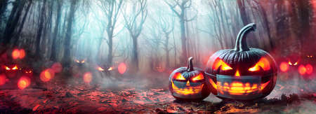 Halloween With Protective Mask - Pumpkins in Forest