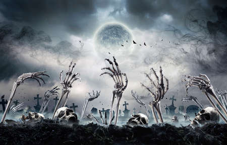 Zombies Rising In Dark - Bones And Skulls Out Of A Cemetery