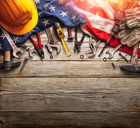 Labor Day - National Holiday - Mechanic Tools And Usa Flag On Wooden Background
