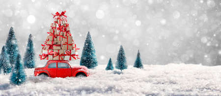 Deformed And Unrecognizable Car Carries Christmas Gifts 写真素材