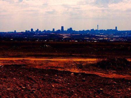 urban sprawl: Johannesburg cityscape skyline Stock Photo