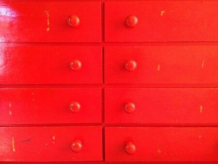 handles: Drawer chest painted red handles