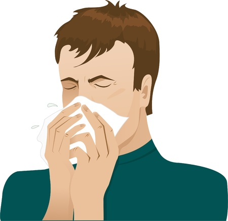 cold virus: Sneezing man Illustration