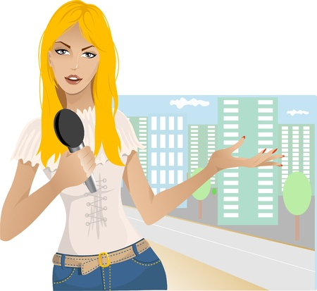 Reporter girl Stock Vector - 11322984
