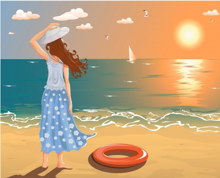 wave tourist: Beach Illustration